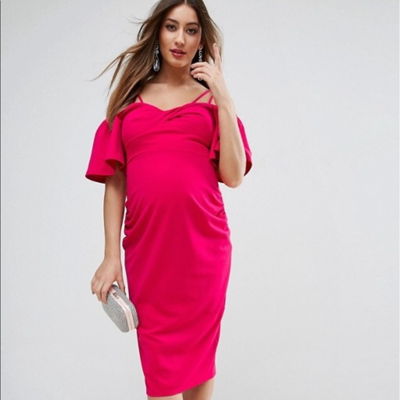 aafeb538ea230 ASOS Maternity Dresses & Skirts - ASOS Hot Pink Maternity Dress Baby Shower  wedding